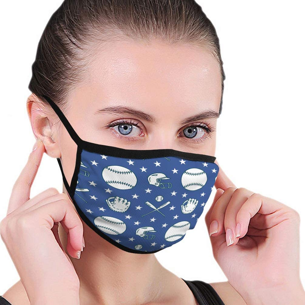 Washable Reusable Safety Mask, Half Face Mouth Mask for Kids Teens Baseball Softball Sport Game line Icons Balls Glove