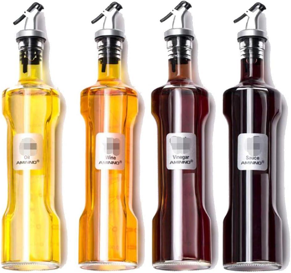 YI-WAN /À Domicile Huile de Verre de Haut Calibre Pot dhuile /étanche Bouteille assaisonnement Bouteille Sauce de soja vinaigre Bouteille m/énage Cuisine Set Color : Clear