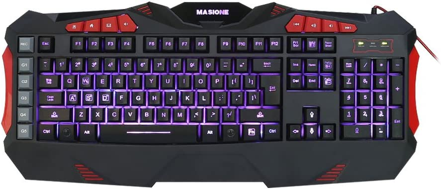 Masione LED USB Gaming Wired Keyboard with 7 Adjustable Colorful Backlights, VMJ-05