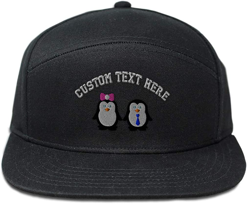 Custom Snapback Hats for Men /& Women Cute Penguin Couple Embroidery Cotton