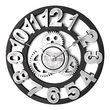 GANADA Reloj de Pared Vintage 30cm Grande Reloj Pared Silencioso Decoración Adorno para Hogar Salon Oficina Comedor Habitación (D): Amazon.es: Hogar
