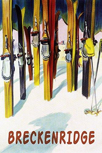 Breckenridge, Colorado - Colorful Skis (16x24 Fine Art Giclee Gallery Print, Home Wall Decor Artwork Poster)