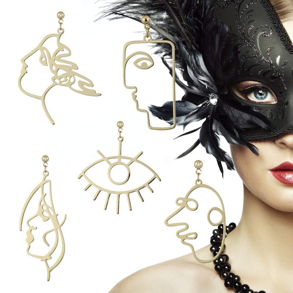 5組 モダン 抽象 アート フェイス ピアス セット 幾何学模様 人間の顔 ファッション デザイン ダングルピアス B07GTWSJLN ゴールド ゴールド