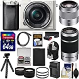 Sony Alpha A6000 Wi-Fi Digital Camera & 16-50mm (Silver) with 55-210mm & 50mm f/1.8 Lenses + 64GB Card + Case + Battery/Charger + Tripod + Kit