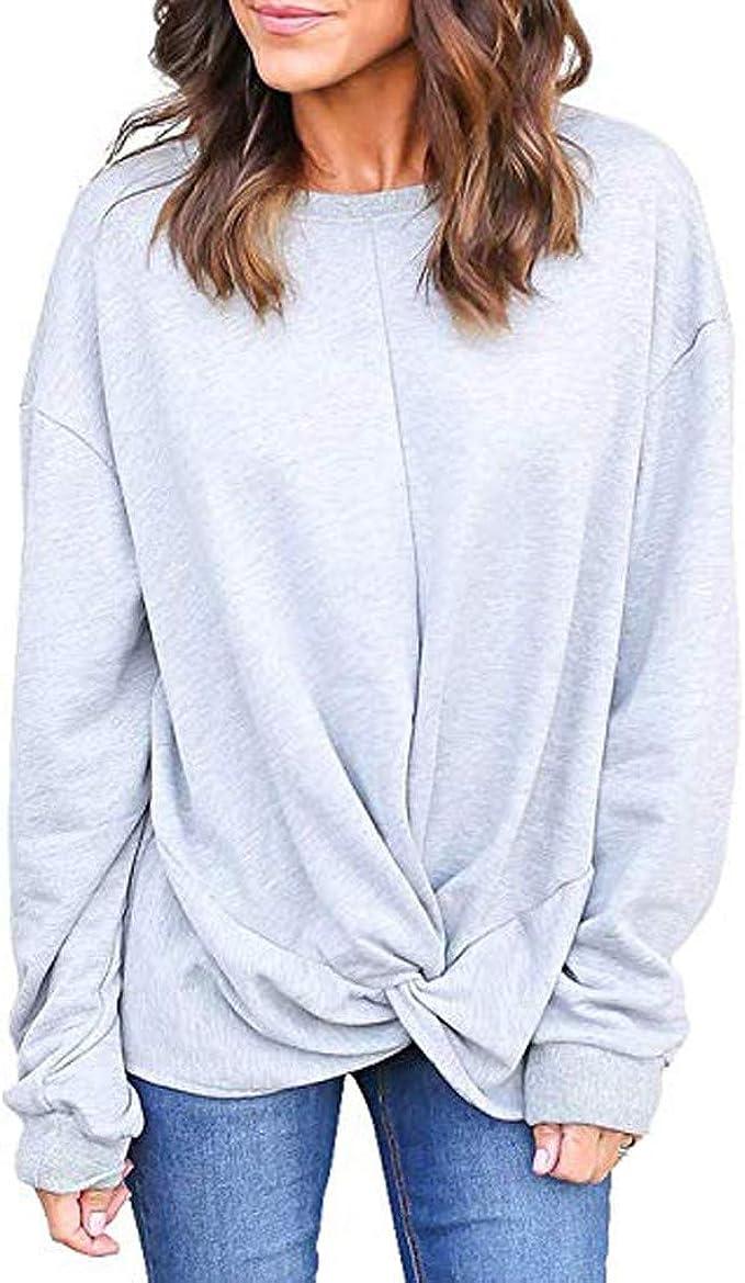 Blusa Mujer Mangas Largas, Sudadera Moda Básica Camiseta Casual ...