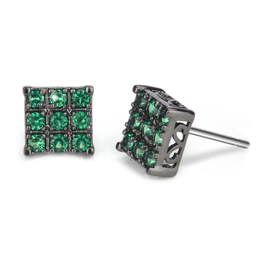 Black Green Diamond Stud Earring for Men Square Sensitive Ears, 8mm