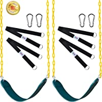 """Swings Seat with 66"""" Chain Plastic Coated [2 Pack],Playground Swing Set Accessories Replacement with Snap Hooks and Hanging Strap Carabiners for Easy Install"""