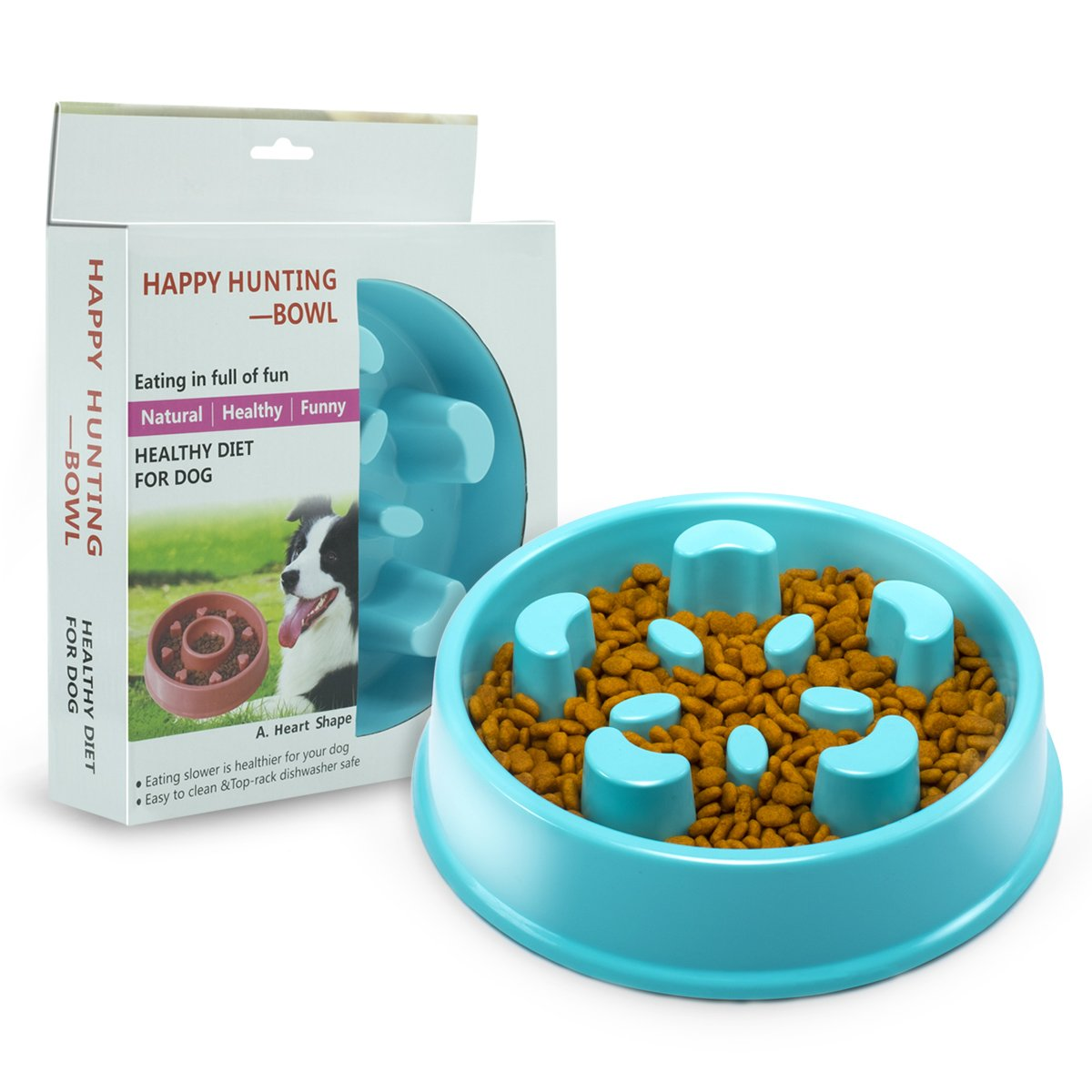 Slow Feeder Dog Bowl - Interactive Fun Slow Eating Bowl for Pets Health Bloat Stop Anti-Choking, Non-Toxic. Eco-Friendly Material