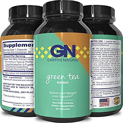 Pure Green Tea Extract Capsules - Weight Loss Diet Pills - Burn Belly Fat - Metabolism Booster + Fat Burner - Lose Weight Fast - For Men & Women - All Natural Detox Cleanse - By Griffith Naturals