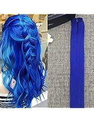 Amazon blue hair extensions extensions wigs full hair 20 inch blue hair 100 human hair clip in pmusecretfo Gallery