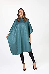 Betty Dain Alligator Hide Bleach-proof Multi Purpose Coloring/Styling Cape, Textured Surface, Secure Snap Closure at Neck, Generous Size, Machine Washable, Lightweight Polyester, Jade, 45 x 60