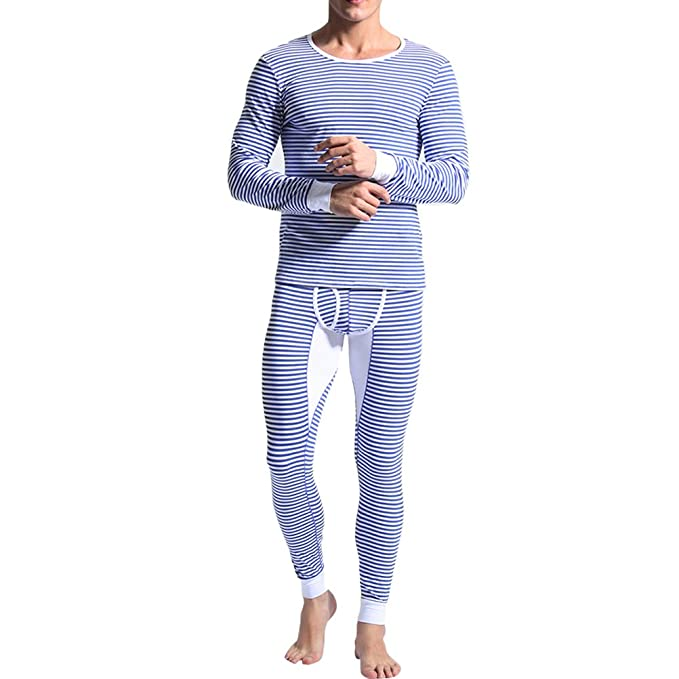 Zhuhaitf Ropa interior térmica para hombre mens winter warm Thermal Underwear Set Long Sleeves Striped Round