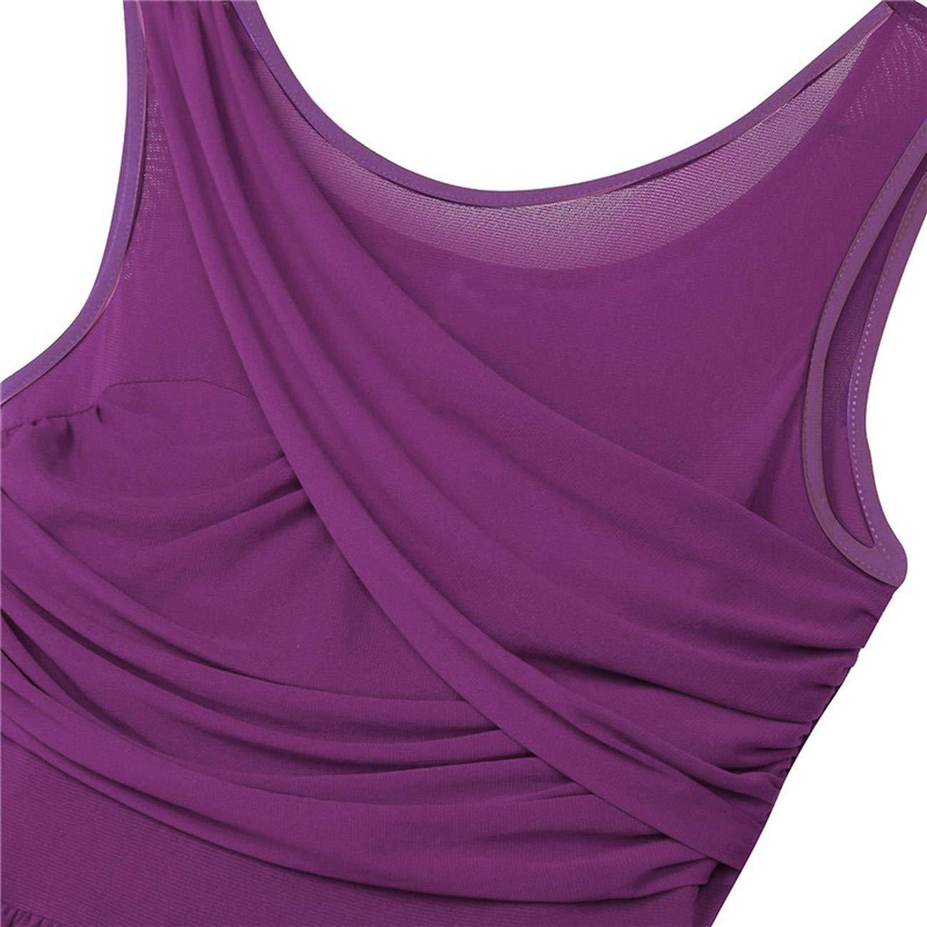 feyioog Womens Sleeveless Cut Out Asymmetric Chiffon Ballet Dance Leotard Dress Practice Costumes Dancewear
