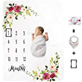 Kute 'n' Koo Premium Fleece Baby Monthly Milestone Blanket for Boy Girl | Large Personalized Photography Background Blankets | Thick Flannel for Mom Newborn Bib + Frame(Gift Packaging