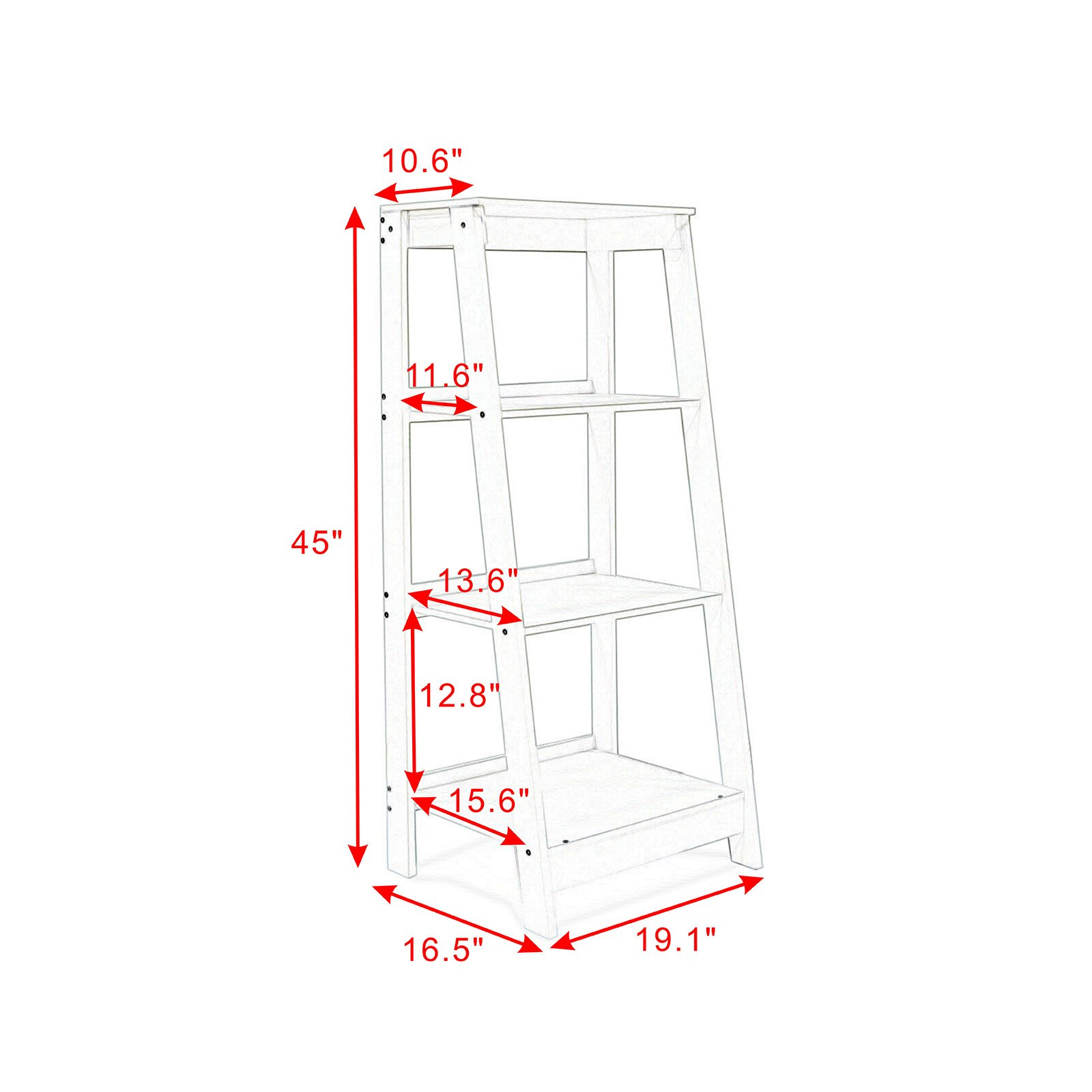 Coismo 3-Tier Ladder Functional Shelf Wooden Home Office Storage Bookcase Display, White by Coismo (Image #6)