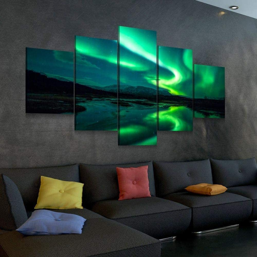 45Tdfc 5 Piezas de Arte de Pared-Impresión Lienzo Pintura-Cartel de Increíble Aurora Green Borealis Impresión de Lienzo-Wall Sticker Paintings-HD Escena Pared Arte Pintura,A,150x80cm