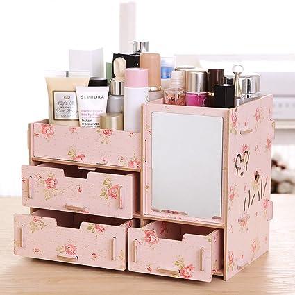 Amazon.com: Tamengi Makeup Organizer Case Cosmetic Organizer Wood ...