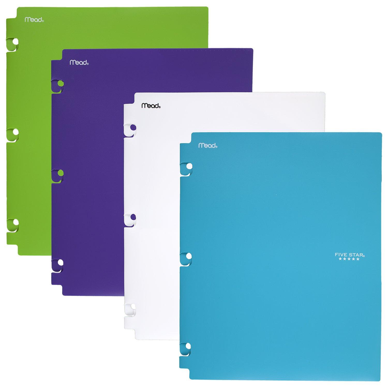 Five Star 2-Pocket Folders, Snap-In Binder Folder, Assorted Trend Colors, 4 Pack (73264) by Five Star
