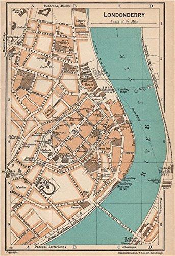 Vintage Town City Map Piano. Irlanda U2013 1949 U2013 Old Antique Mappa Vintage