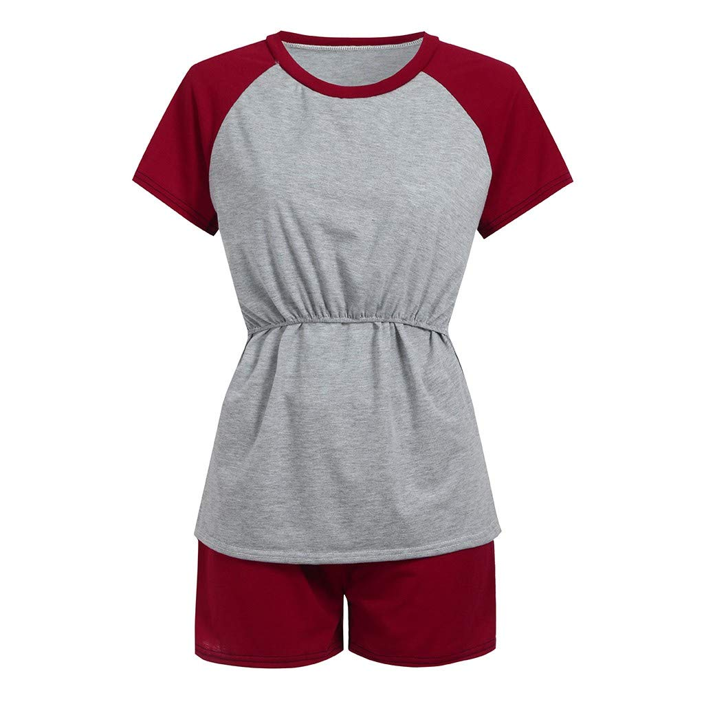 Shorts Pyjama Ensemble Enceinte V/êTements,Yesmile V/êTements Grossesse Et Maternit/é 2Pcs Maternit/é Manches Courtes Allaitement B/éB/é T-Shirt