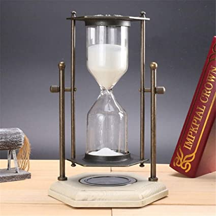 4 pack, 16X24.5cm, Rotating hourglass with compass metal antique wood sand hourglass