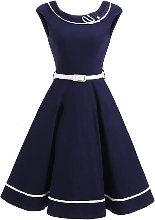 cocktailkleid dunkelblau knielang