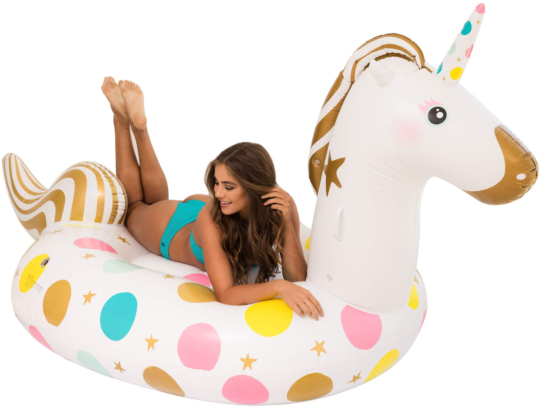 Unicorn Pool Float - Giant 107 x 44 x 55 Inches Inflatable Giant Unicorn Float Swimming Pool River Raft Float Unicorn… 3