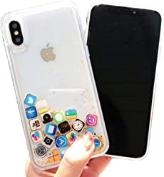 Floating Apps Liquid Gold Quicksand Glitter Silicone Protector Case Gel Cover ~ Estuche Fundas Forros Cobertor