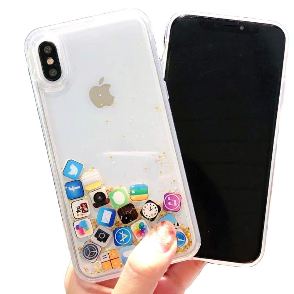 Floating Apps Liquid Gold Quicksand Glitter Silicone Protector Case Gel Cover ~ Estuche Fundas Forros Cobertor Carcasa (iPhone Xs MAX 6.5