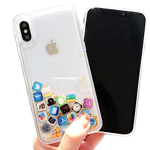 Floating Apps Liquid Gold Quicksand Glitter Silicone Protector Case Gel Cover ~ Estuche Fundas Forros Cobertor Carcasa (iPhone X)