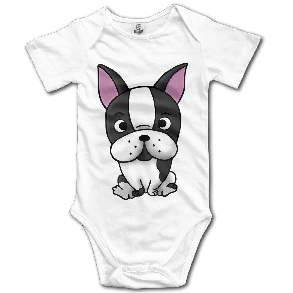 Fillmore-M Newborn Babys Boy's & Girl's Boston Terrier Short Sleeve Bodysuit Baby Onesie 0-24 Months White