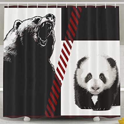 Yisliferunaz Bear And Panda Shower Curtain Waterproof Polyester Fabric Bath Decor Bathroom Sets 60X72inchWater
