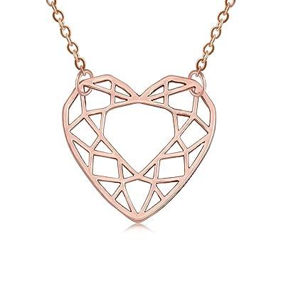 Amazon com: SENFAI Gold Plating Geometric Heart Love the