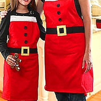 muitobom 5 pcs adultos delantal de Navidad, Papá Noel disfraz estilo delantal adulto cena fiesta delantales cocina cocina de restaurante casa patrones ...