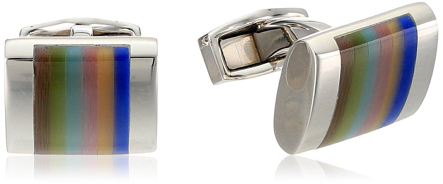 Tateossian Rhodium Fiber Optic Glass Optic Regato Cuff Link by Tateossian