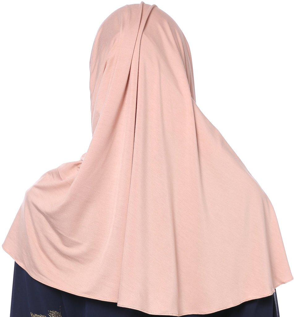 YI HENG MEI Women's Modest Muslim Islamic Soft Solid Cotton Jersey Inner Hijab Full Cover Headscarf,Dark Pink by YI HENG MEI (Image #2)