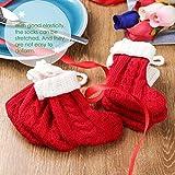 UNOMOR Christmas Cutlery Holders, Cute Socks Design Christmas Silverware Holder, 6 in One Pack