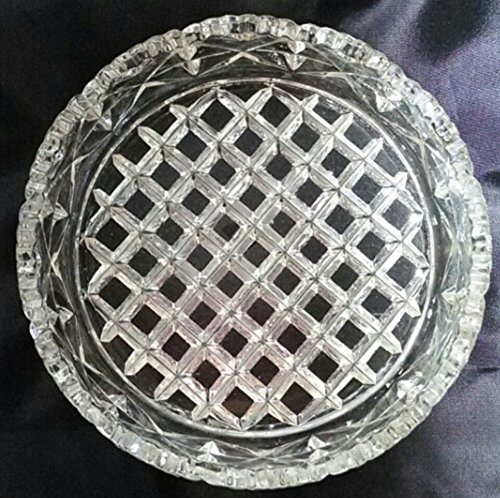 Vintage Pressed Glass Wine Bottle Coaster - Diamond Pattern