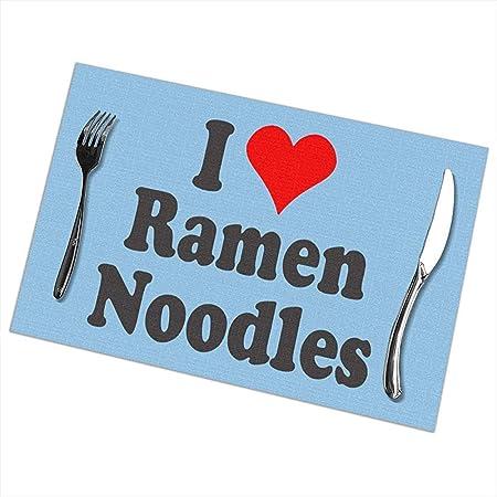 Manteles individuales, I Love Ramen Noodles Manteles lavables, Manteles antideslizantes a prueba de calor Juego de 6 para mesas de comedor: Amazon.es: Hogar