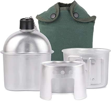 Cup with Lid and Stove NEW Military 5 Pc 1 Quart CANTEEN SET with 1 QT OD Cover