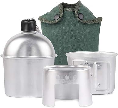 Lixada Cantimplora Militar para Camping de Aluminio Utensilios de Cocina 3pcs con Copa y Estufa para Camping Senderismo Mochilero