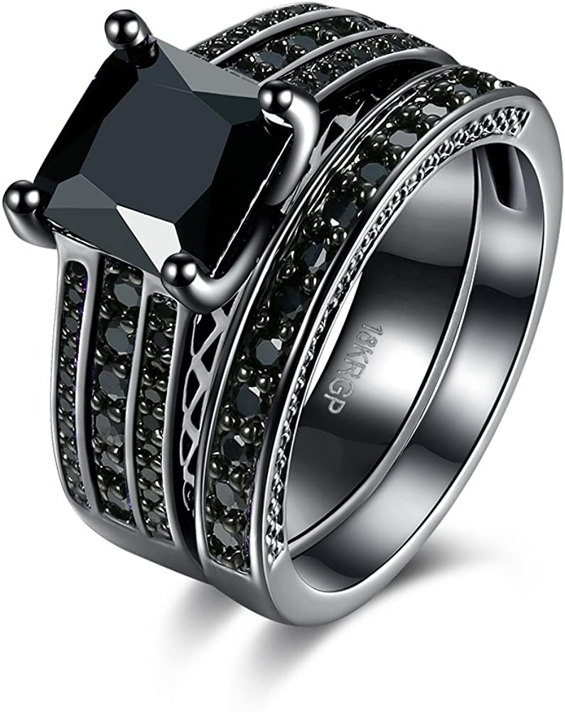 LZD 18K Gold Black Gun Plated Fashion Set Ring AAA Zirconia Women B325