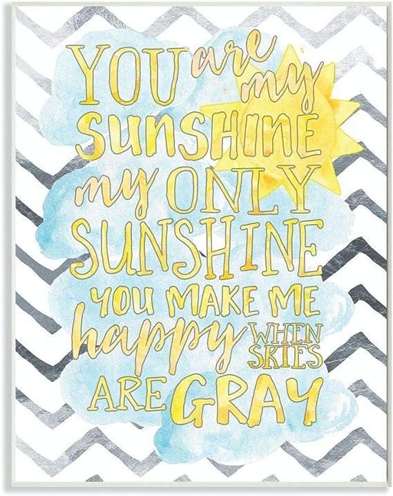 Amazon Com Stupell Industries You Are My Sunshine Watercolors Chevron Wall Plaque 10x15 Design By Artist Erica Billups Home Kitchen