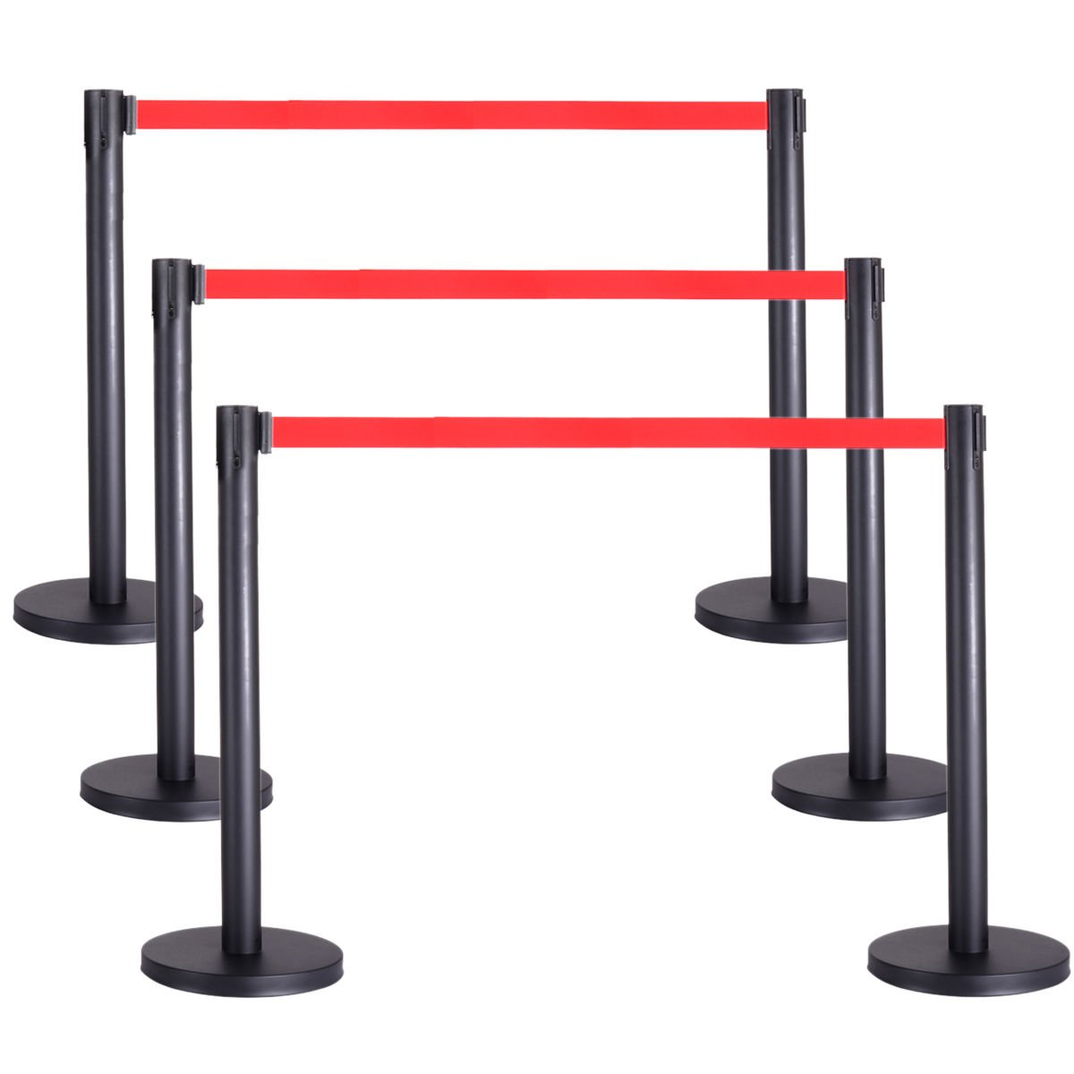 6 PCS Crowd Control Barrier Stanchion Posts Queue Pole Retractable Red Belt