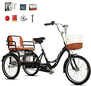 Adult Tricycle 20-inch 3-Wheeled Scooter with Food Basket can take People to Enlarge The Back seat Tandem Bicycle Pedal car to Pick up The Child car