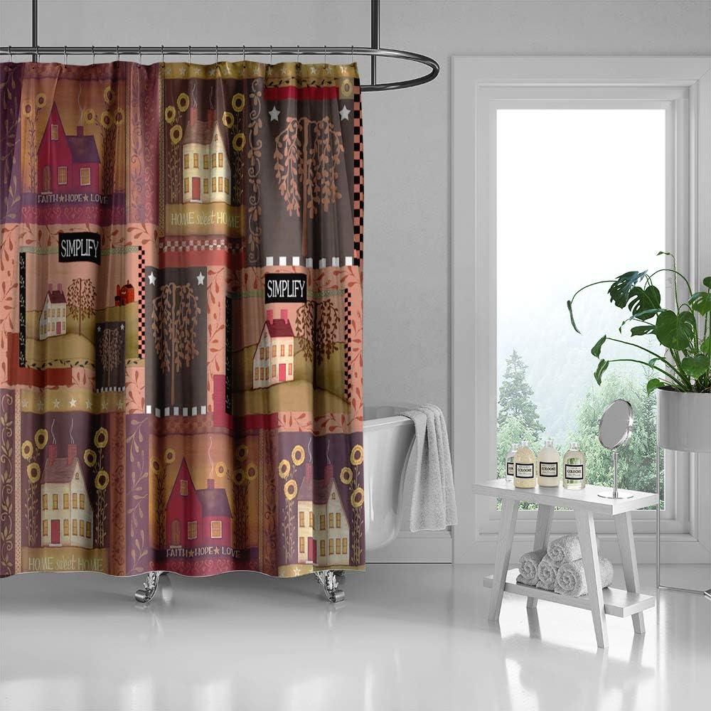 country decor shower curtain sweet home faith hope love simplify house polyester fabric bathroom decor curtain set hooks included 71x71 in