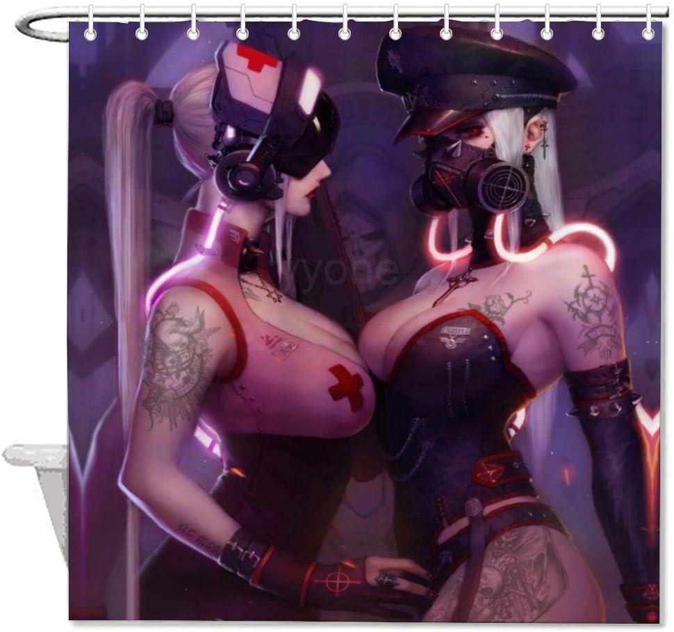 "yyone Bath Curtain Girls Dressed As A Nurse Shower Curtain with Hooks for Bathroom Decor 72"" X 72"""