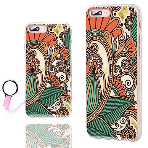 iPhone 8 Plus Case Cute,iPhone 7 Plus Case Cool, ChiChiC [Orignal Series] Slim Flexible Soft TPU Rubber Cases Cover for iPhone 7 8 Plus 5.5 Inch, Oriental Ethnic Orange Green Indian Pattern ()