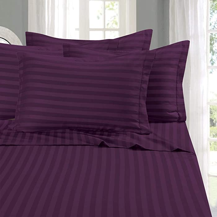 Elegant Comfort Best, Softest, Coziest 6-Piece Sheet Sets! - 1500 Thread Count Egyptian Quality Luxurious Wrinkle Resistant 6-Piece Damask Stripe Bed Sheet Set, Queen Eggplant/Purple
