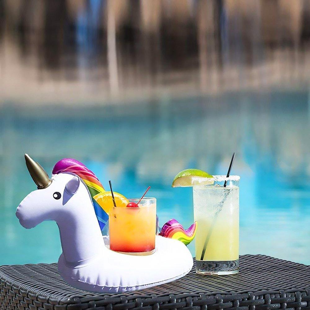 Isuper Posavasos de Flotador de Bebida,Portavasos Hinchable,Juguetes Flotantes hinchables Decoración para Fiesta de Verano de Piscinas(Unicornio)
